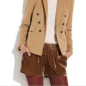Madewell velvet shorts NWT